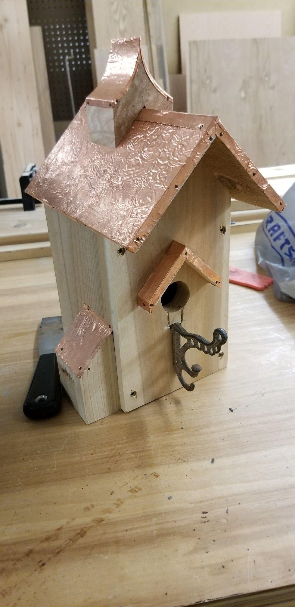 Cedar Birdhouse With Adhesive Backed Copper Sheet Roof Unique Bird Houses Bird Houses Diy Decorative Bird Houses