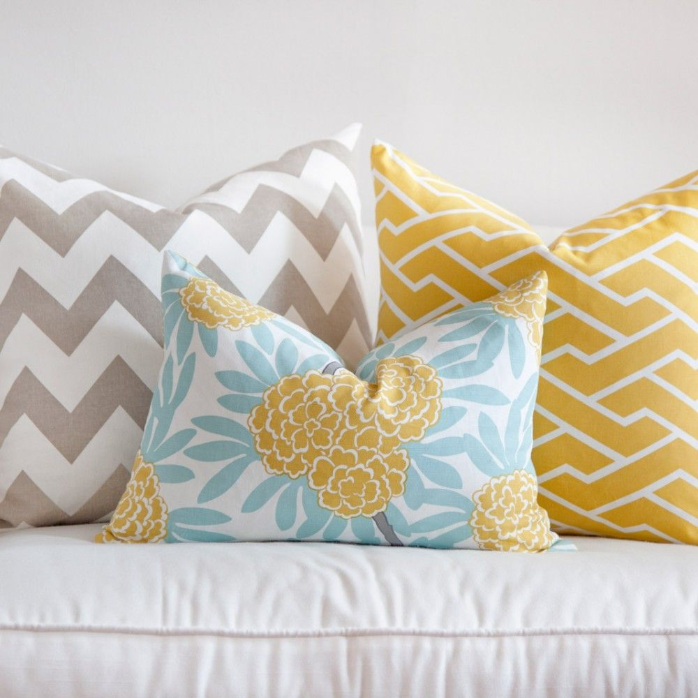 Cushion Colour Combinations: Love The Yellow, Turquoise And Grey