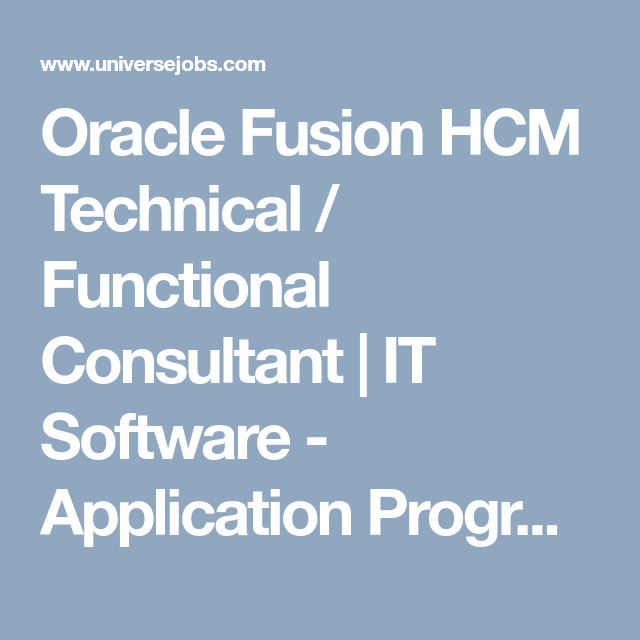 Oracle Fusion Hcm Technical  Functional Consultant  It Software