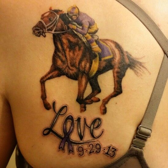 My racehorse tattoo for my dad who had alzheimer 39 s and was for Thoroughbred tattoo lookup