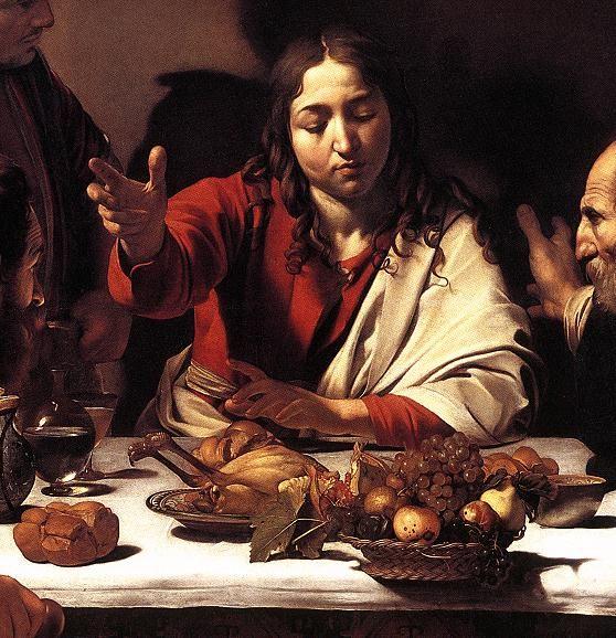 the last supper detail carravagio | Caravaggio - Supper At Emmaus (detail) 1