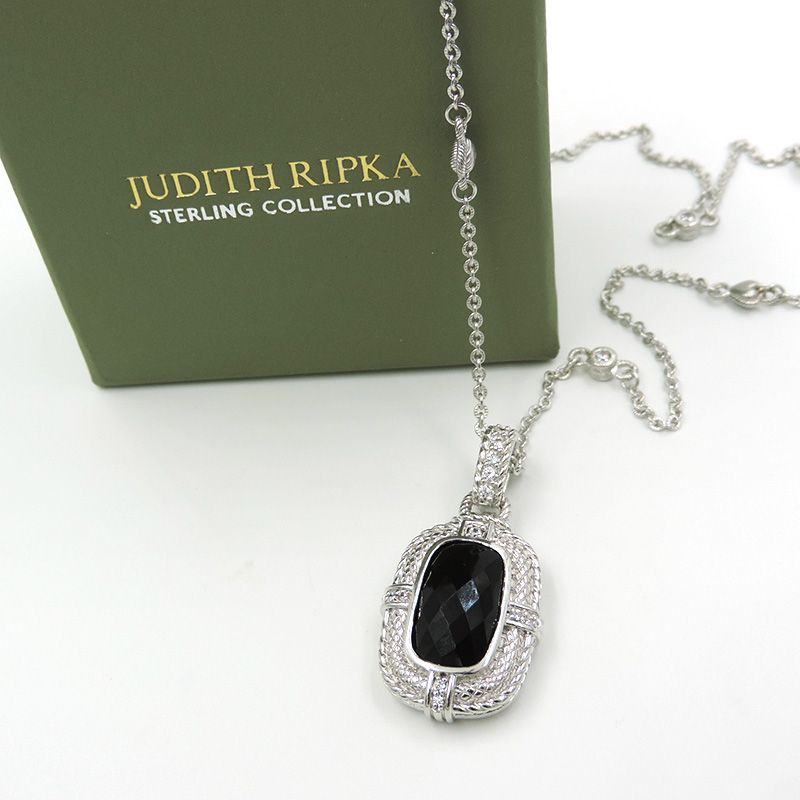 Silver CZ Checkered Dogtag Pendant With Chain