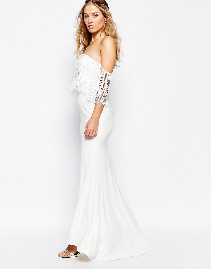 Simple boho wedding dress image of jarlo off shoulder lace dress
