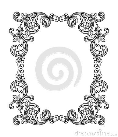 Vintage Baroque Victorian frame border monogram floral ornament - baroque scroll designs