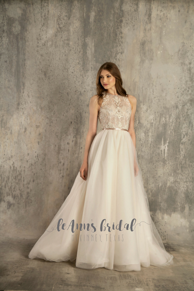 6b860d61e Illusion Lace Tank Wedding Dress With Tulle Skirt | Saddha