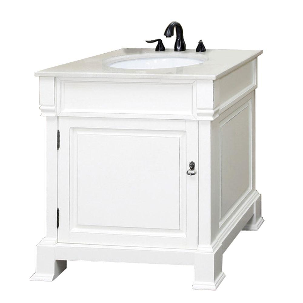 Bellaterra Home Olivia 30 In W X 35 1 2 In H Single Vanity In White With Marble Vanity Top In White Bt5030 Wh Marble Vanity Tops Single Sink Bathroom Vanity Vanity