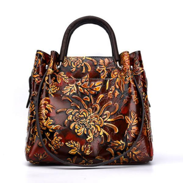 7e51c2ce714b Hot-sale designer Brenice Women Vintage Genuine Leather Bags Printing  Flowers Handbags National Style Women Bags Online - NewChic Mobile
