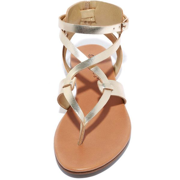 8c8e37b6a4 Boho Babe Champagne Gold Thong Sandals ($19) ❤ liked on Polyvore featuring  shoes, sandals, toe thongs, gold strappy sandals, adjustable strap sandals,  ...