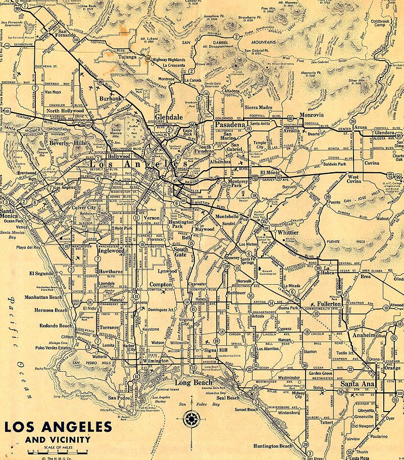 Map Of California Los Angeles.1935 Los Angeles Southern California Regional Rocks And Roads
