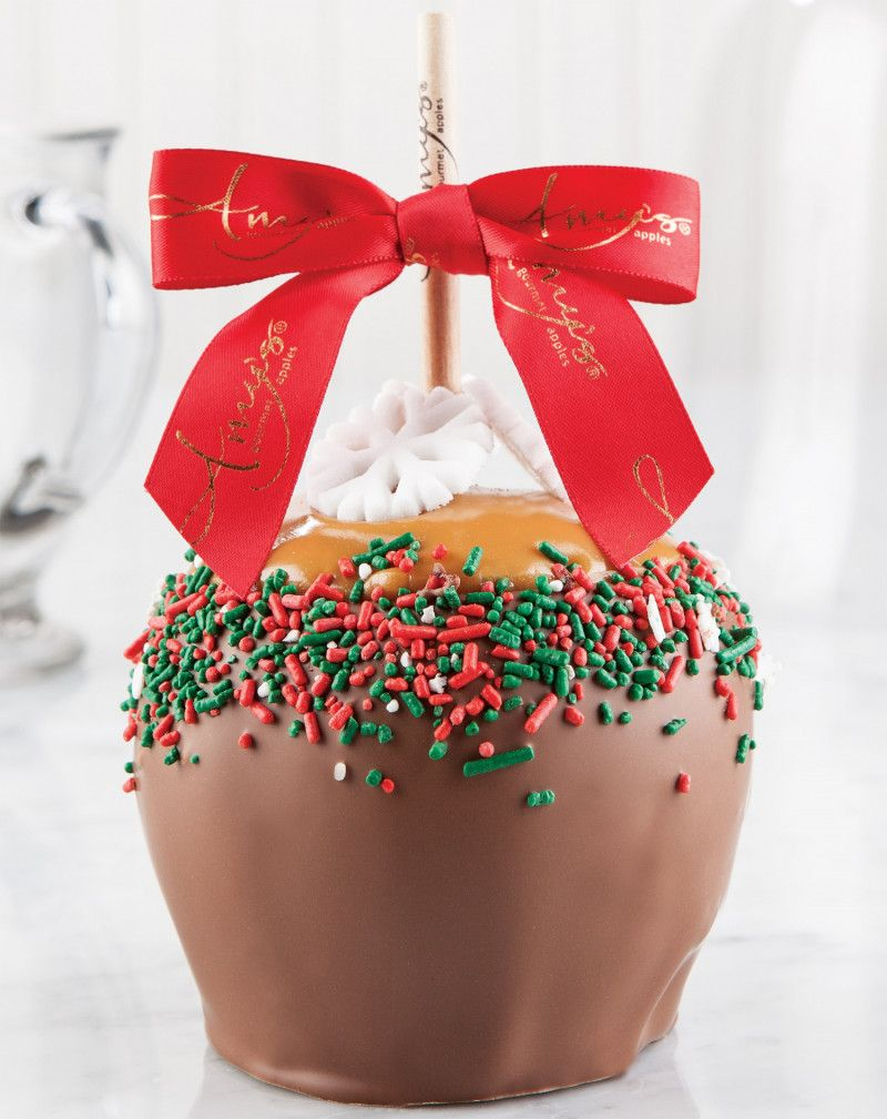 Holiday Red Green Snowflake Dunked Caramel Apple W Milk Chocolate Caramel Apples Caramel Apple Gifts Candy Apples