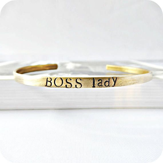 Wedding Gift For Boss: Boss Lady, Funny Bracelet, Cute Wife Gift, Skinny Cuff