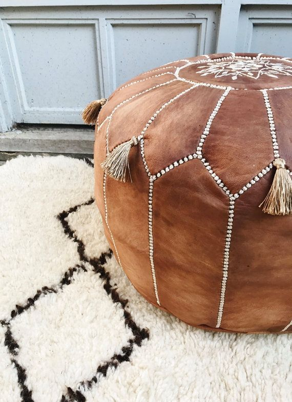 Poufs For Sale Amusing Summer 30% Off Sale  Tan Brown Moroccan Leather Pouf With Tassels Decorating Inspiration