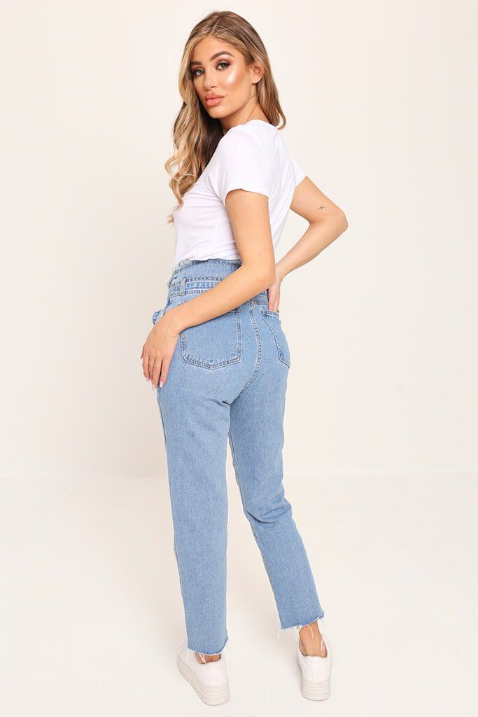 classic fit buy good pretty cool Blue high waisted frayed paper bag mom jeans   Pants in 2019 ...