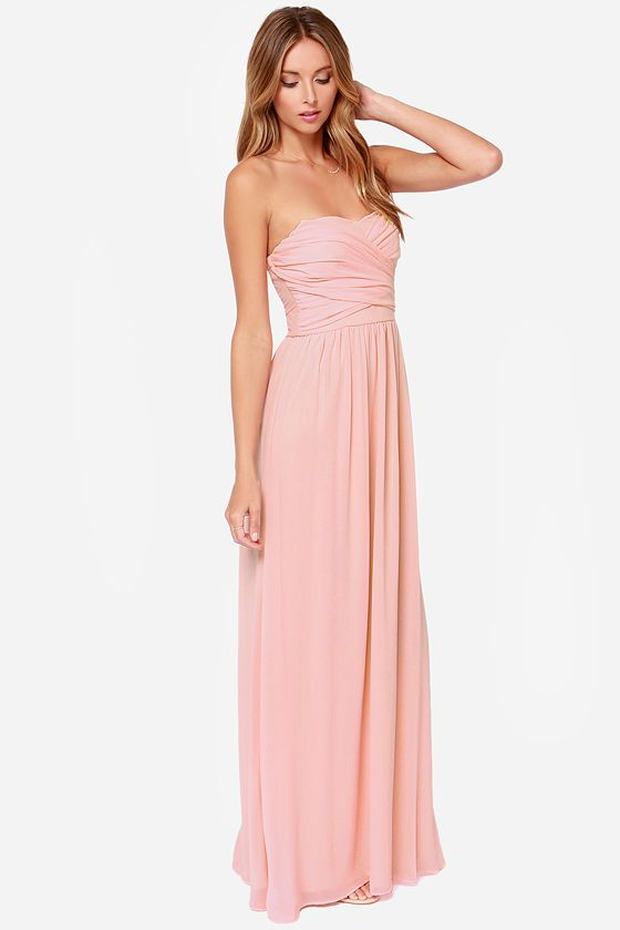 Exclusive Royal Engagement Strapless Peach Maxi Dress | Hermosa ...