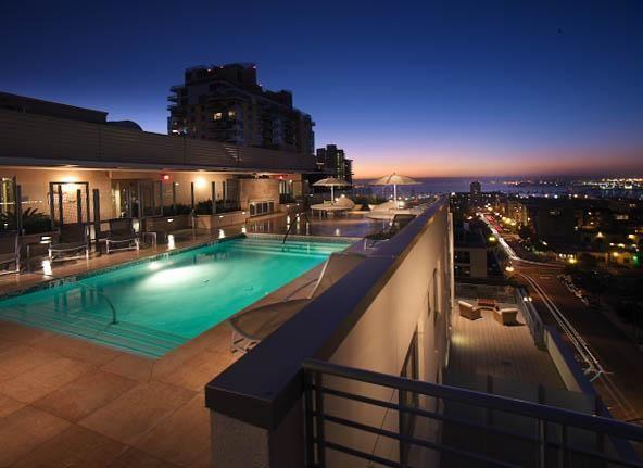 Rooftop Pool Nightime