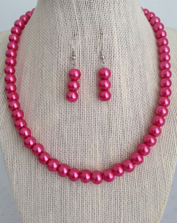 Hot pink pearl silver chain pendant necklace party wedding bridesmaid gift