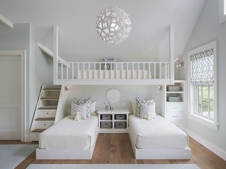 Amazing Shared Girls Room Features A Pair Of Matching White Platform Beds Dressed In Off White Bedding And A Gray