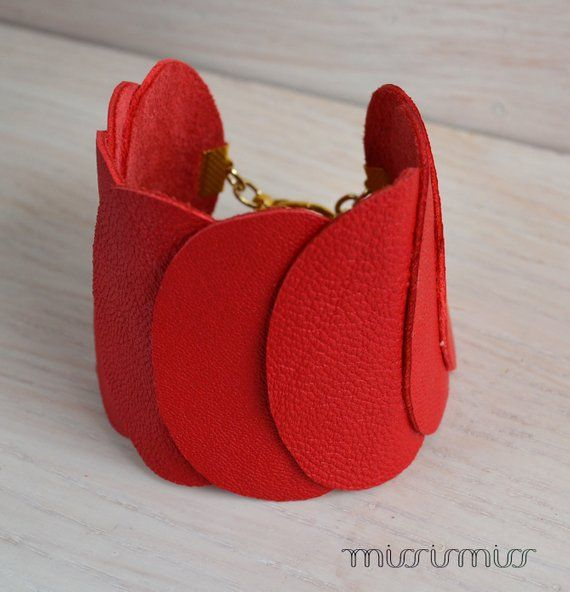 Photo of Red bracelet/ One of a kind bracelet from red leather/ red cuff.