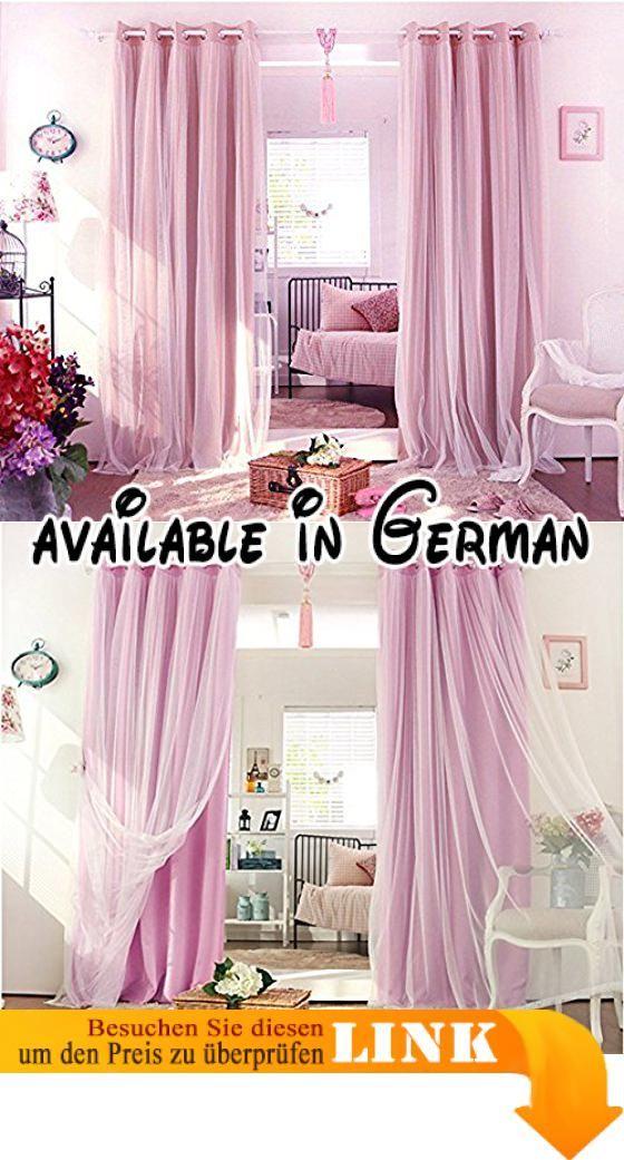 Nibesser 2er Set Prinzessin Vorhänge 2 Schichten Blickdicht Gardinen  Verdunklungsvorhang Mit Ösen Für Schlafzimmer Kinderzimmer (