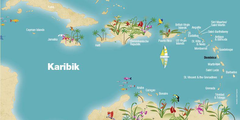 Landkarte Dominica Karibik Karibische Inseln Caribbean