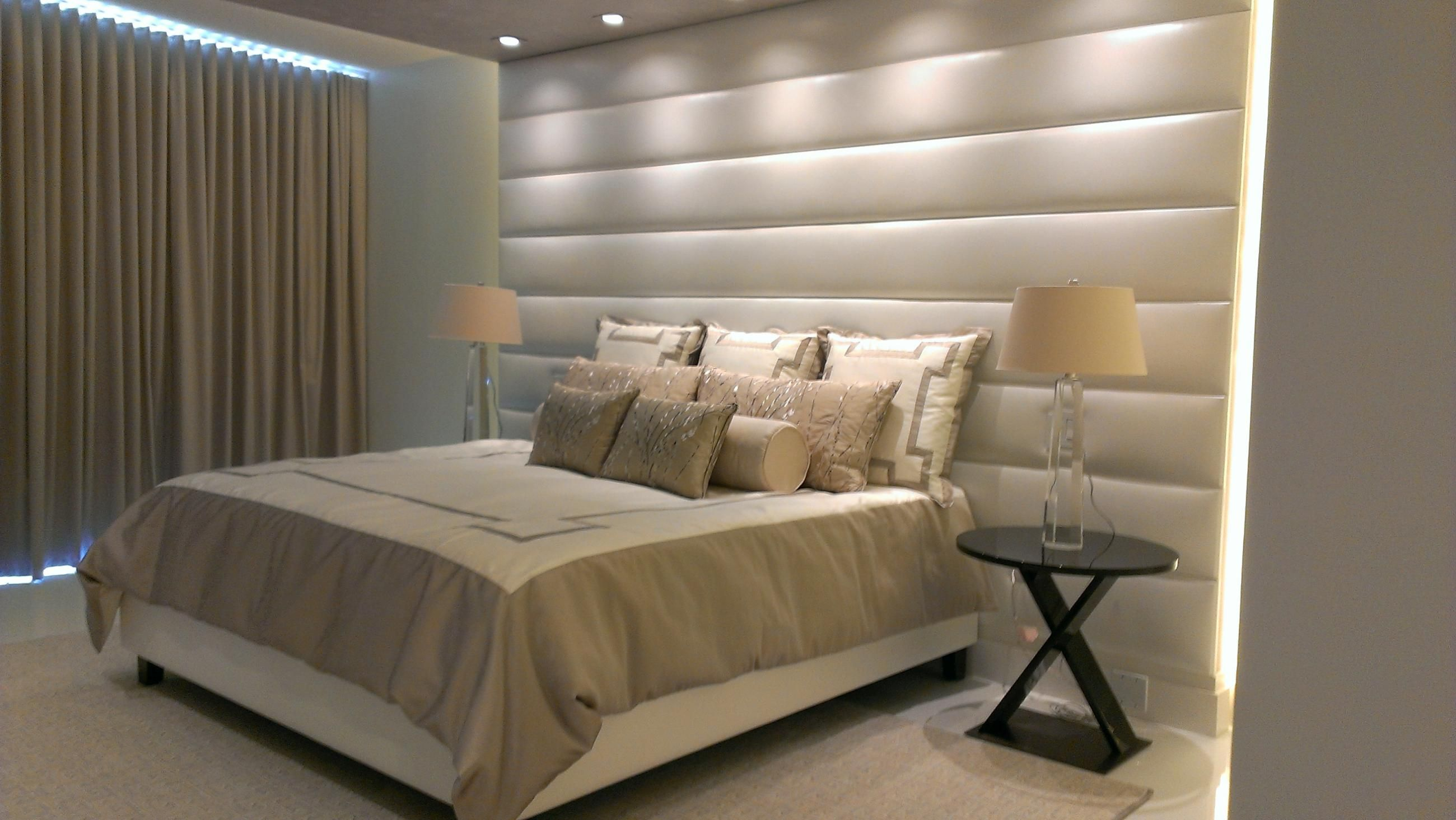 Wall mounted upholstered headboard panels with for Bed wall design