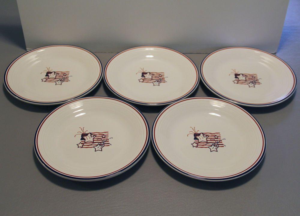 "Fiesta® Stars & Stripes Dinner Plates 10 1/2"" made by Homer Laughlin China | eBay"