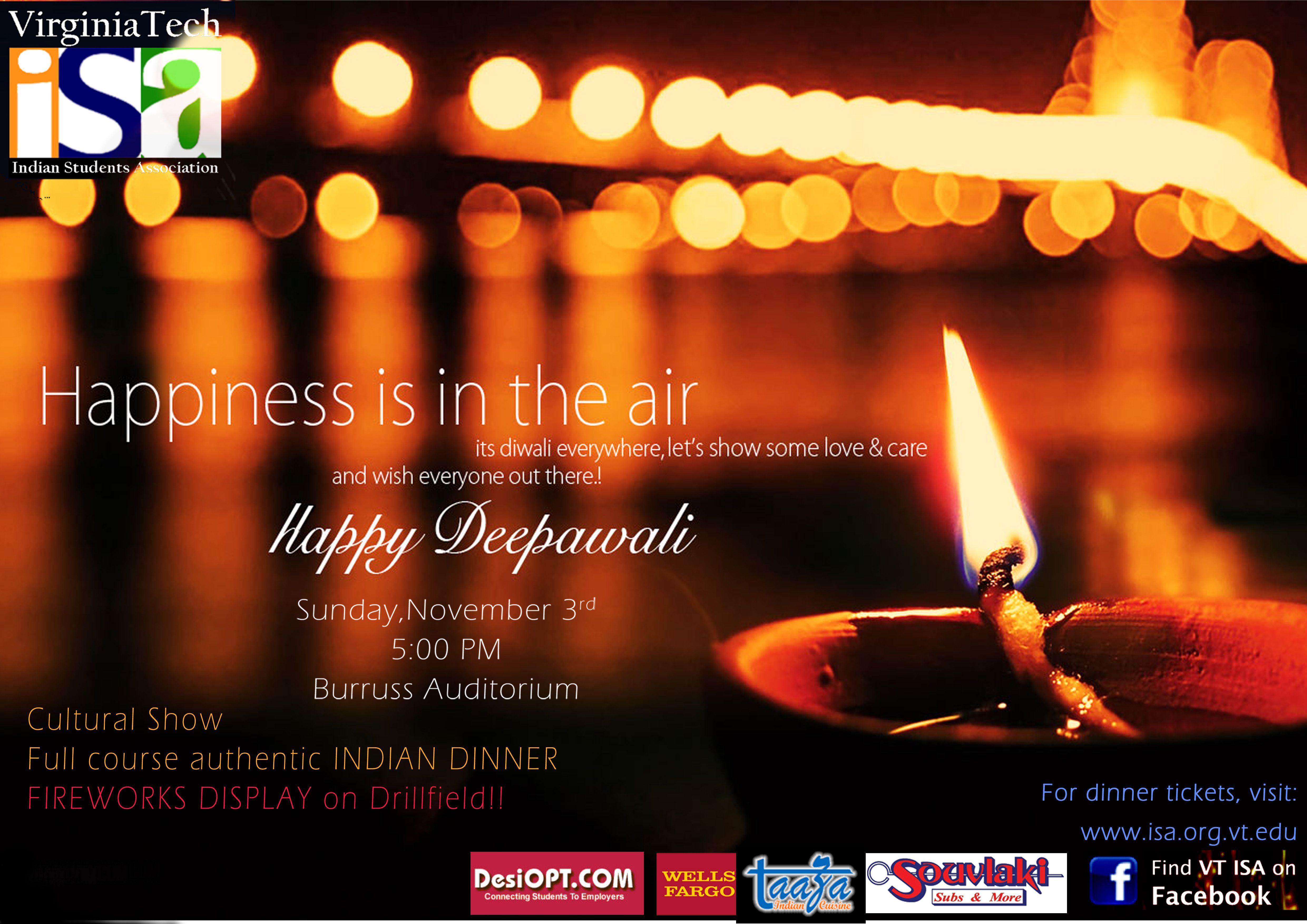 Diwali 2013 Celebration on Sunday, November 3rd in Burruss