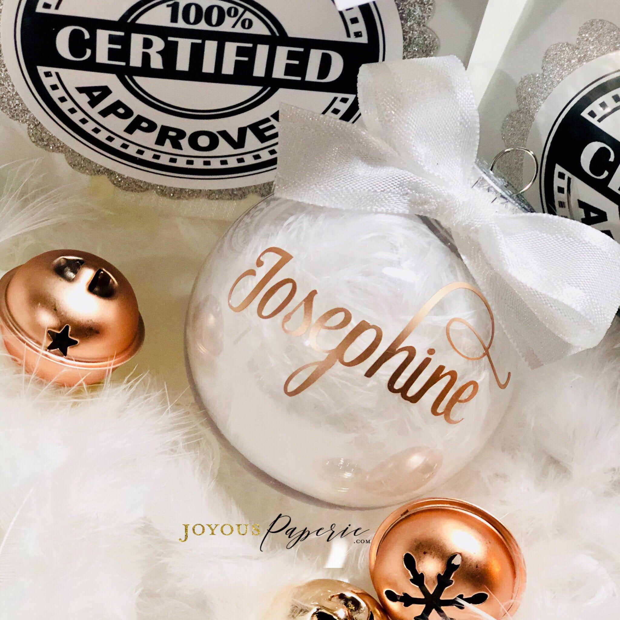Personalized Ornament, Rose Gold White Ornament, Christmas ...