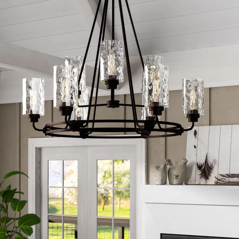 Westhope 9 Light Shaded Tiered Chandelier Farmhouse Dining Room Lighting Farmhouse Chandelier Light Shades