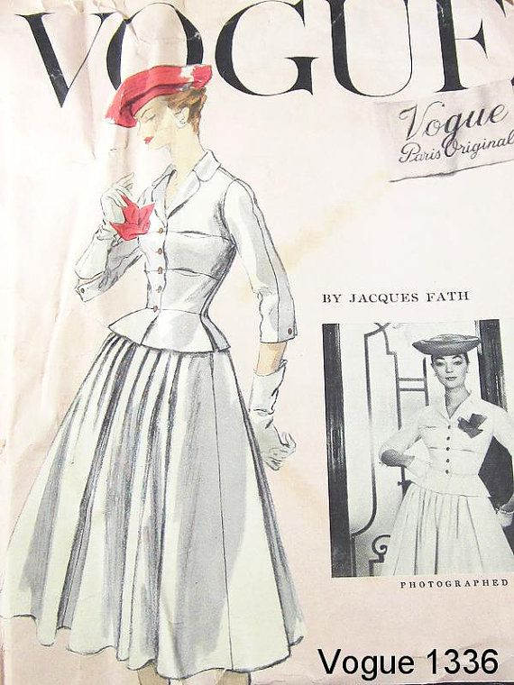 Vintage 50s Dress Pattern - Uncut Vogue 1336 - Vogue Paris Original ...