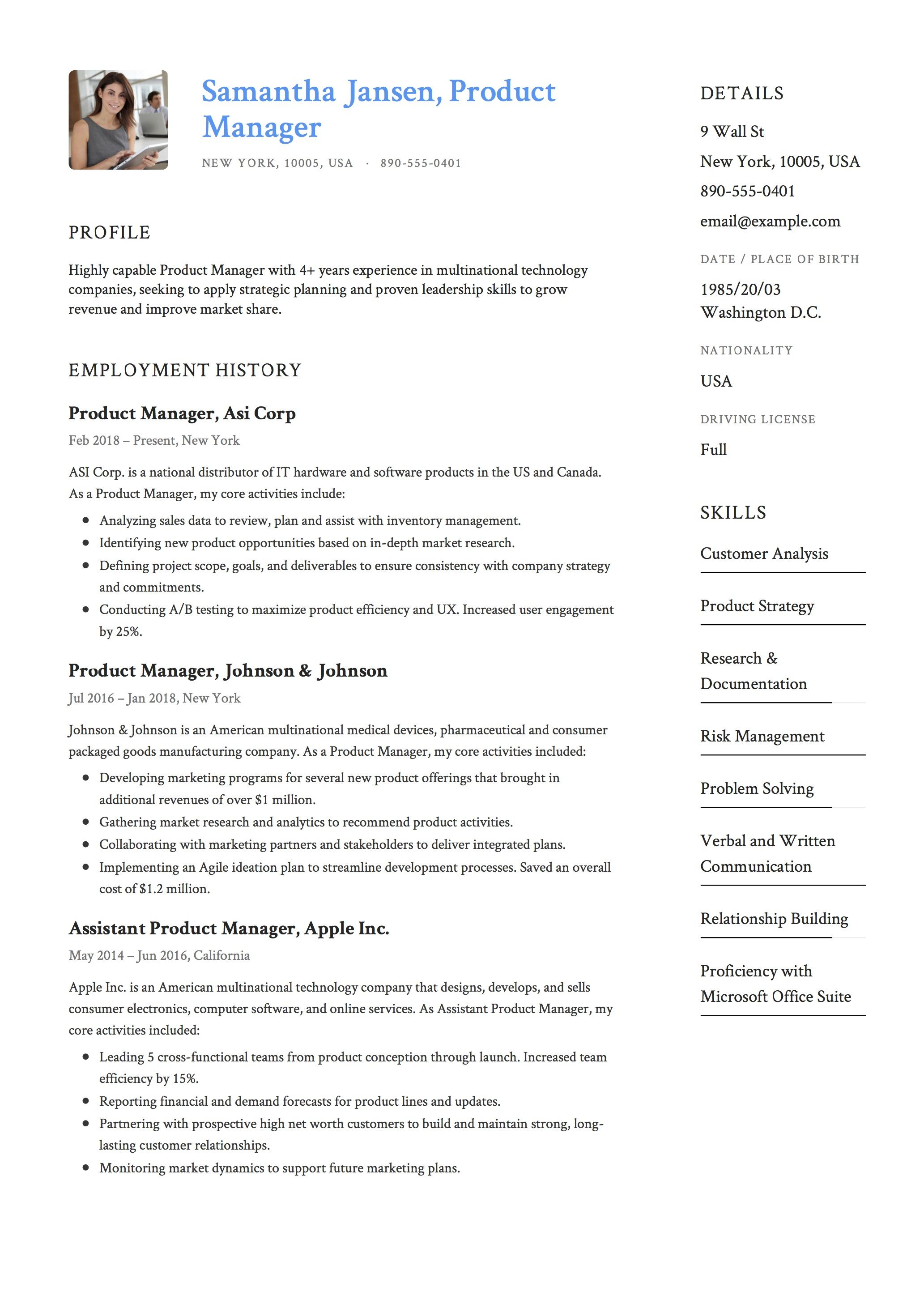Example Of A Cv Product Manager Resume Sample Template Example Cv Formal Desig .