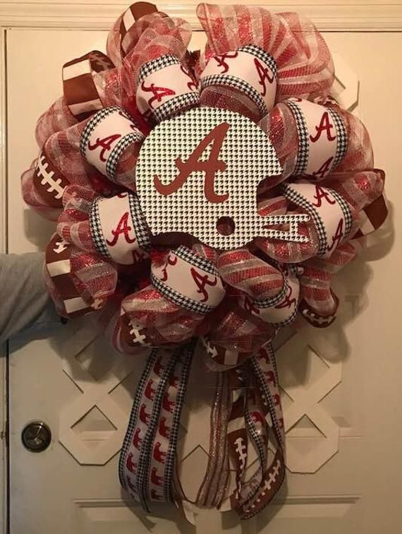 Alabama Crimson Tide - Alabama Roll Tide - Door Wreath  - Crimson Tide - Roll Tide - Alabama University - Collegiate Football - UA - Mancave #rolltidealabama