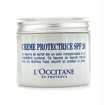 L'Occitane Shea Protective Cream SPF 20, 1.7 Fluid Ounce by L'Occitane. $42.00. Skin defends itself better against external aggressions and against the harmful and drying effects of the sun.. Dry skin is durably nourished, supple and soft.. Triply protected (against dryness, against harsh climatic conditions and against the harmful and drying effects of the sun). Shea Protective Cream SPF 20. A beauty care to protect dry skin from the harmful and drying effects of the sun!