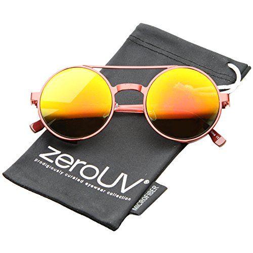 c7ef8609ded3 zeroUV Retro Side Cover Crossbar Reflective Color Mirror Lens Round  Sunglasses 49mm
