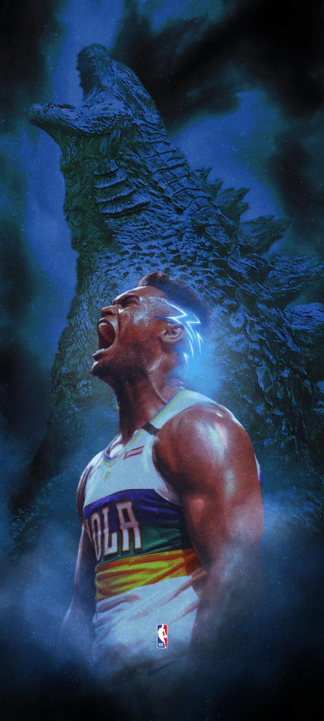 Zion Williamson Godzilla Nba Wallpaper Nba Wallpapers Iphone Wallpaper Nba Nba Art