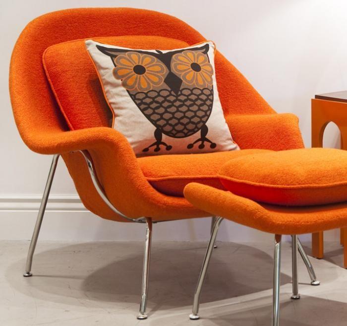 Captivating Eero Saarinenu0027s Womb Chair / Model No 70 Looking Fab In Orange With A Great  Cushion