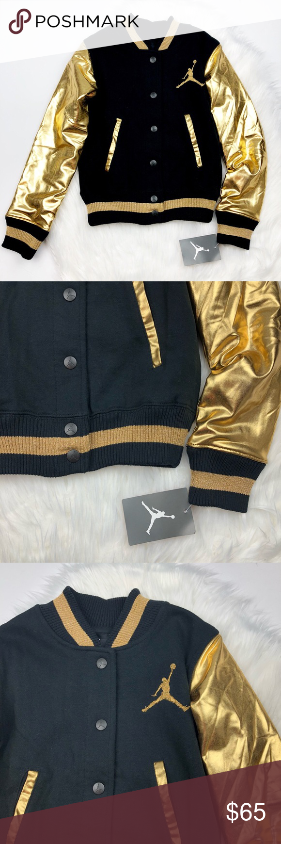 7da0fca9e72907 NWT Girls Jordan Metallic Gold Varsity Jacket So cute and brand new with  tags! Rare and sold out. Metallic gold sleeves with brocade print 23 on the  back.