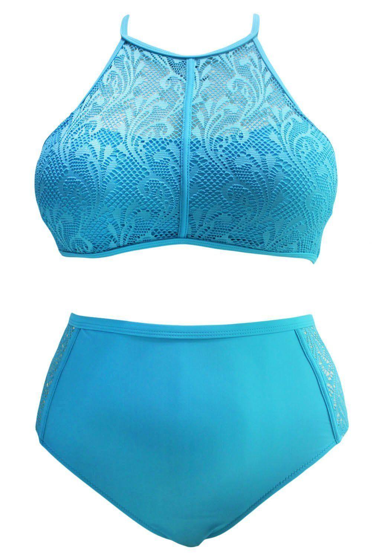 64e16ecdff4 Sky Blue Patterned Mesh Insert Plus Size Swimwear