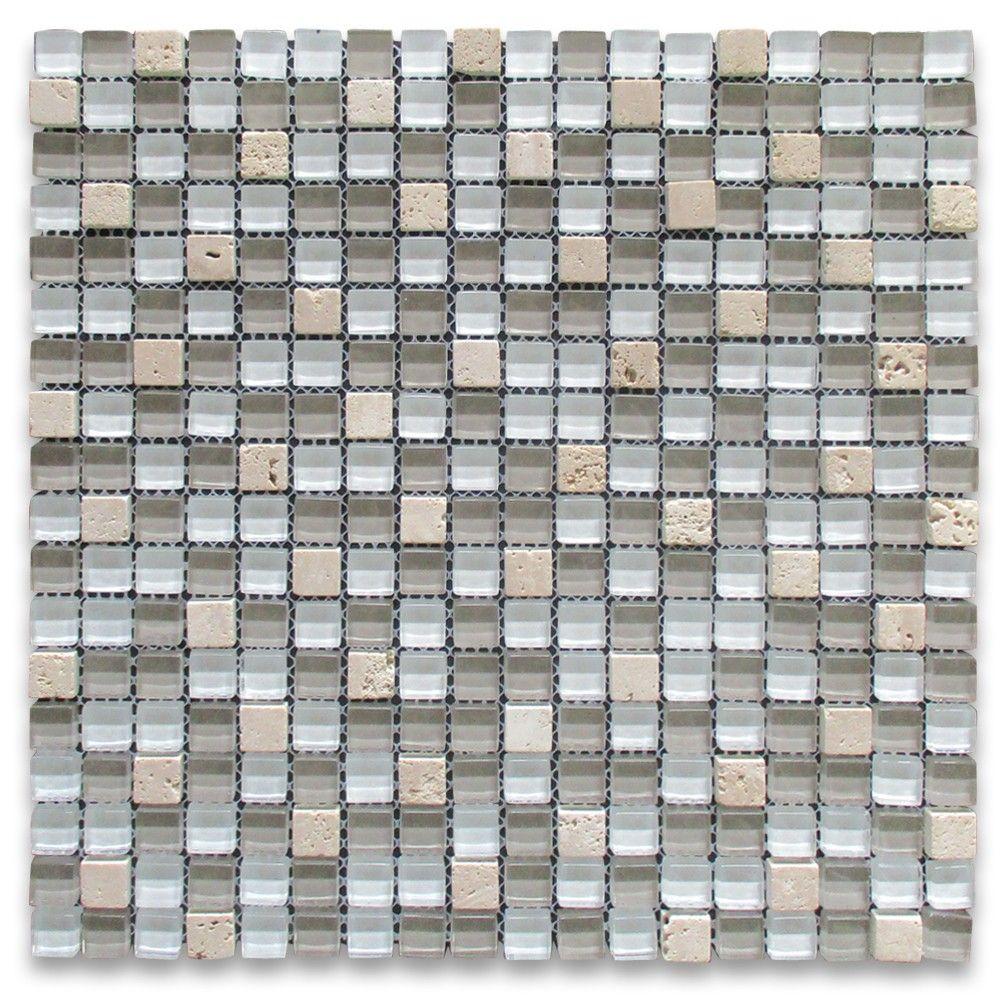 White Gray Glass Mix Beige Travertine 5 8 Square Mosaic Tile
