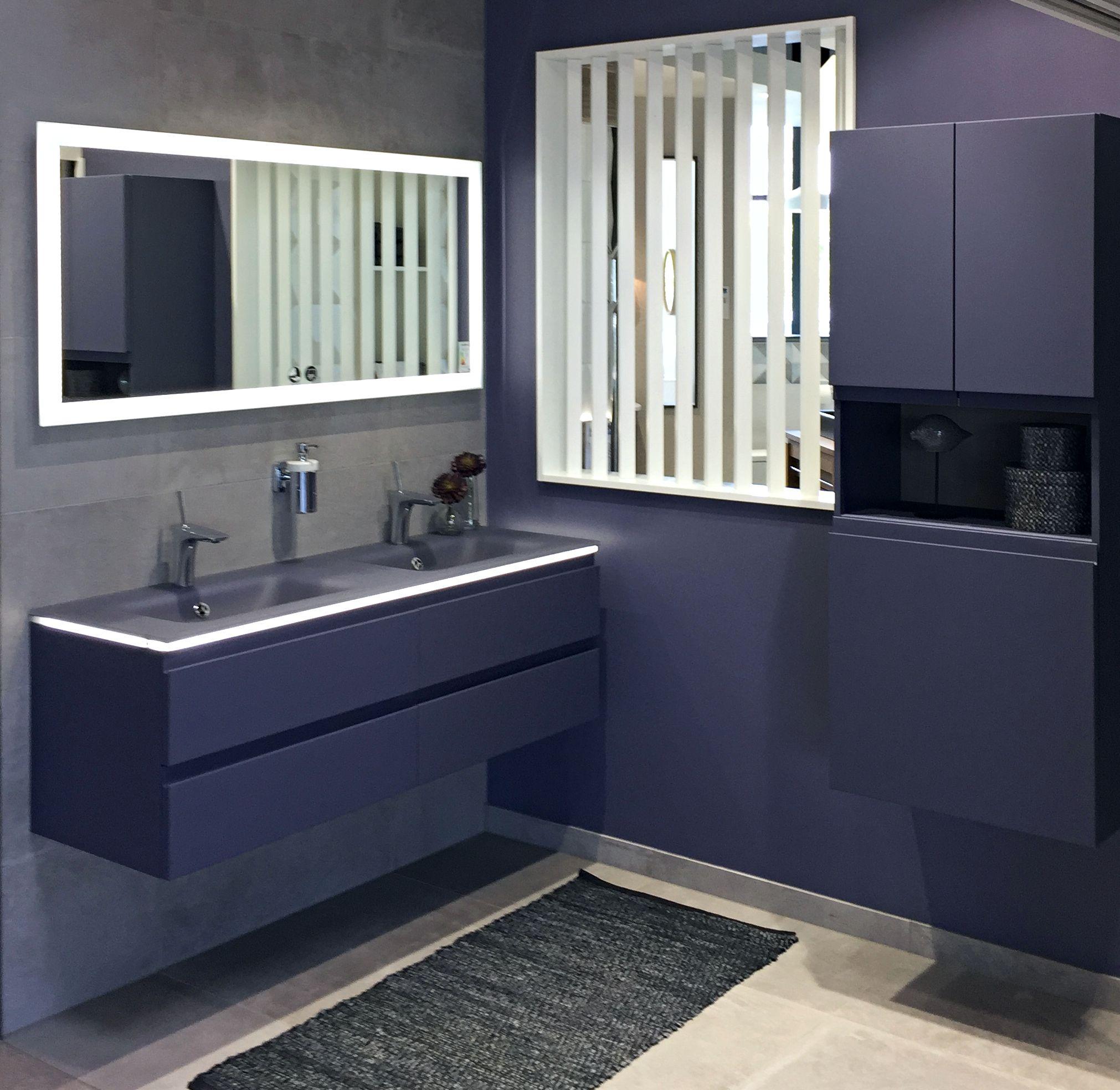 Salle De Bain Bleue Meuble Double Vasque Idee Salle De Bain Salle De Bain