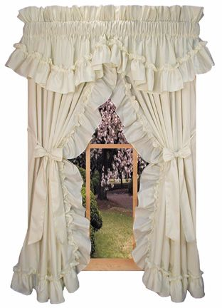 Our Stephanie Ruffled Priscilla Curtains With Bow Tie