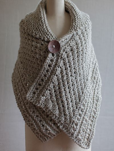 Free knitting pattern for Knit Wrap shawl with eyelets ...