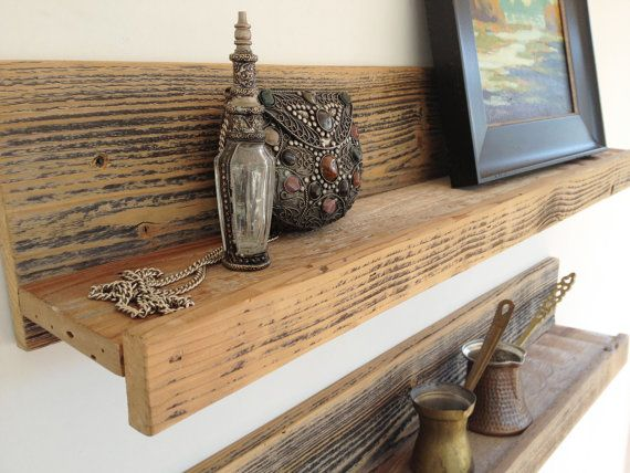 Two 24 Inch Rustic Wall Mounted Reclaimed Wood Shelves For The Home Studio Office
