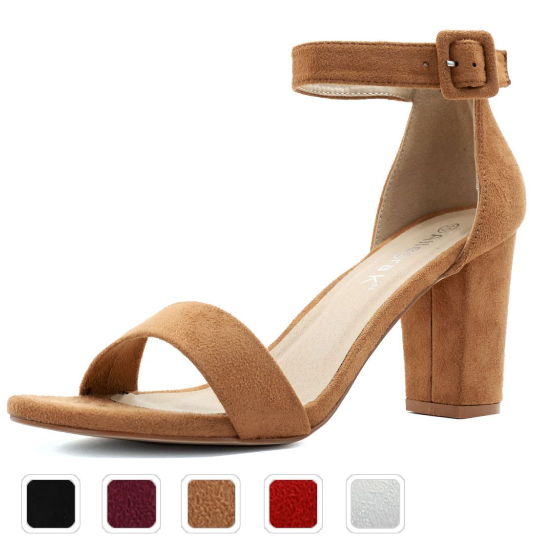 352f6767b020 Free Shipping. Buy Unique Bargains Women s Ankle Strap Open Toe Chunky High  Heel Sandals at Walmart.com