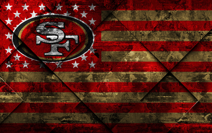 Download Wallpapers San Francisco 49ers 4k American Football Club Grunge Art Grunge Texture American Fl American Football National Football San Francisco 49ers