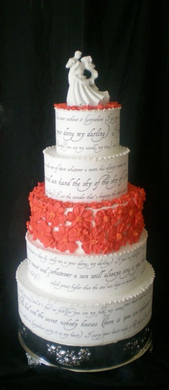 wedding cake love poem e e quot i carry your quot poem on a wedding cake 23098