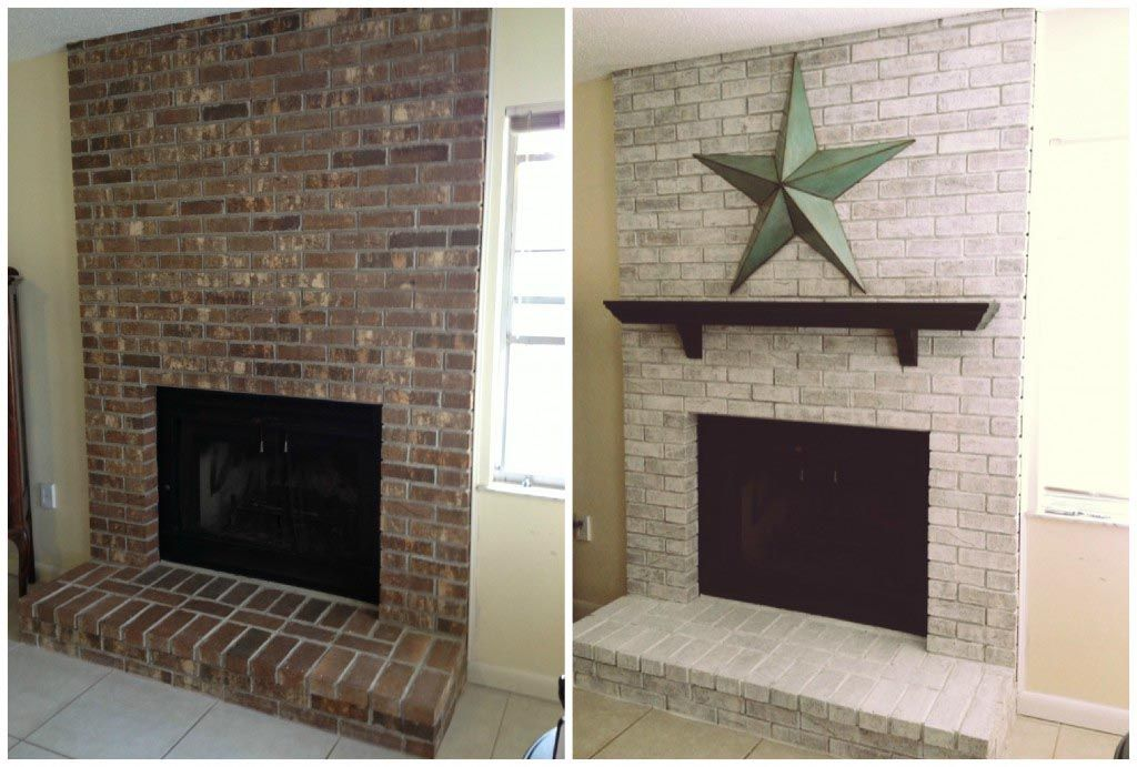 Whitewash Brick Fireplace Before And After White Wash Brick