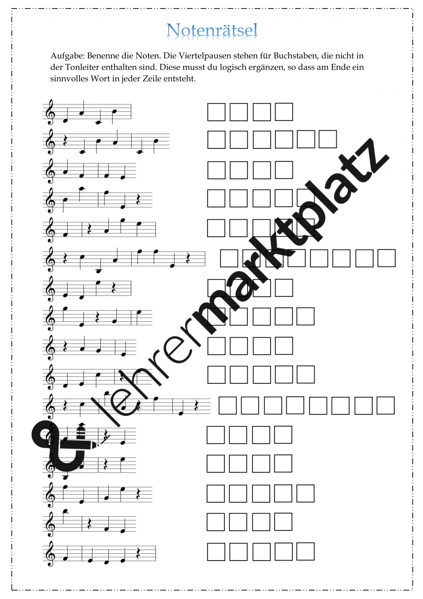 Rätsel für den Musikunterricht 20   Notenrätsel leicht ...