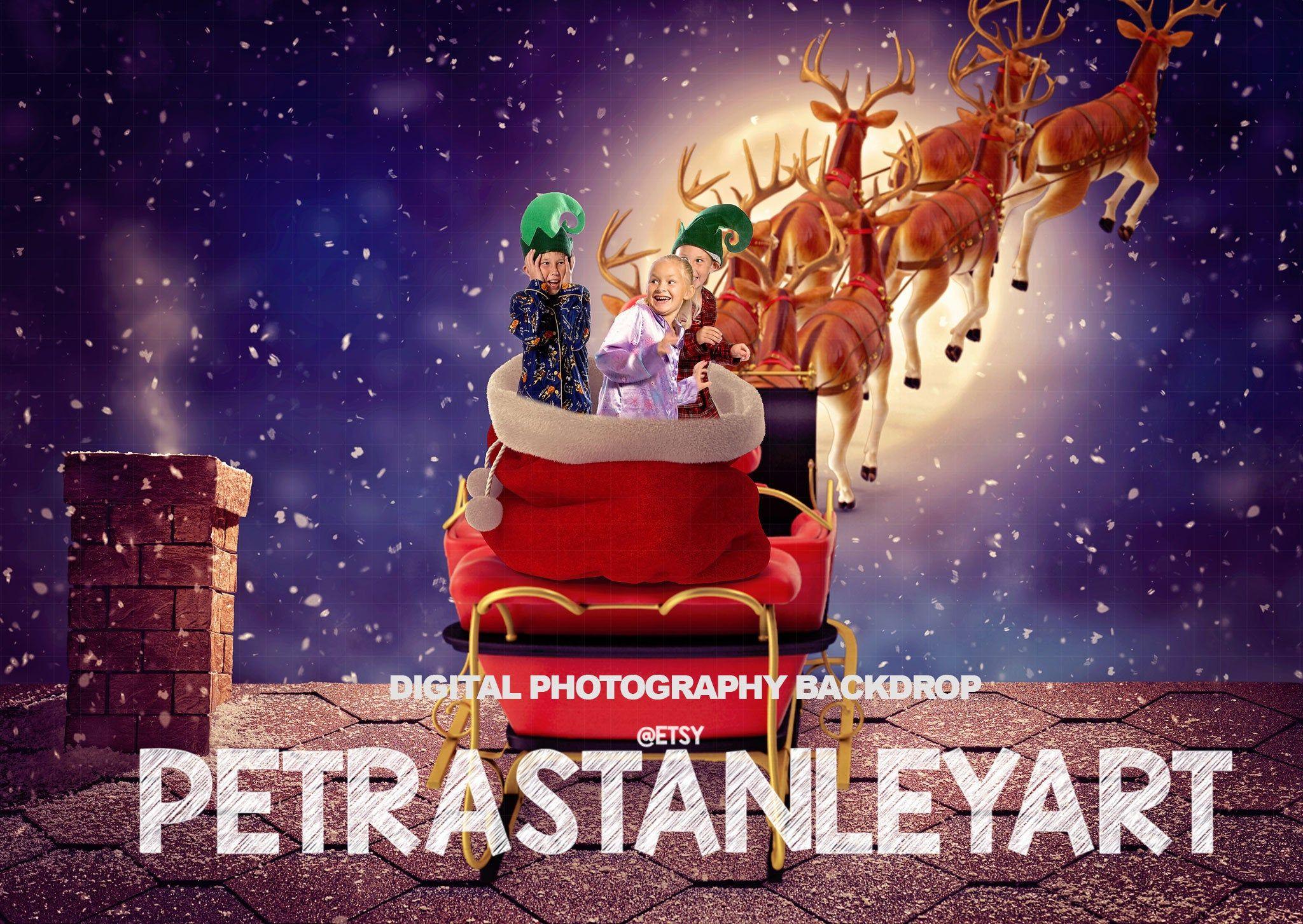 Santa's Sleigh on Christmas Roof Digital Backdrop, Winter Background for Photography, Christmas Backdrop for Photographers, Digital Overlays #backdropsforphotographs