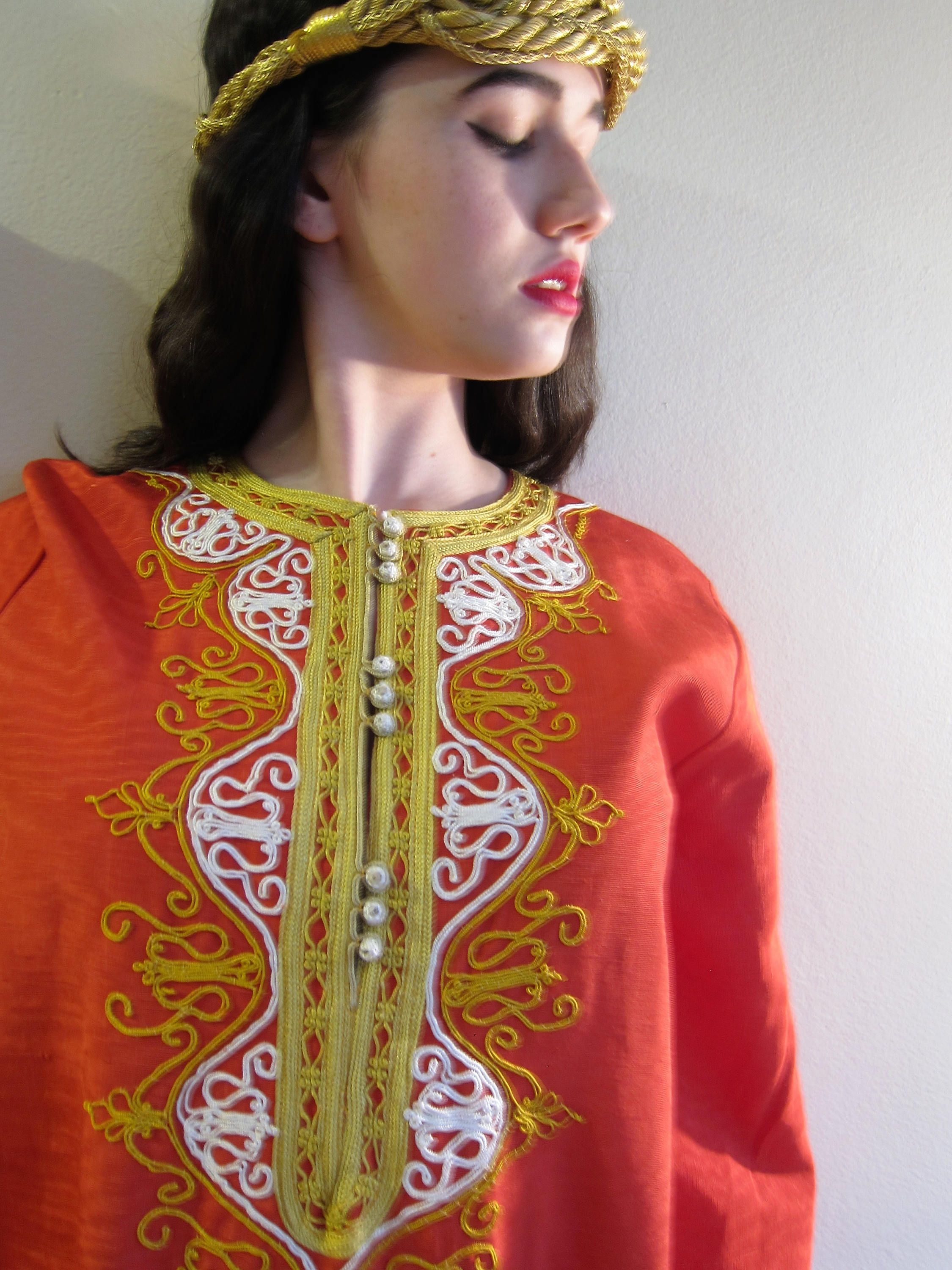 Vintage s red caftan dress s maxi dress red and gold lounger